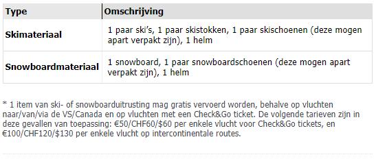 omschrijving welke ski en snowboard items er mogen worden meegenomen op de vlucht tegen 0 Euro bagagekosten